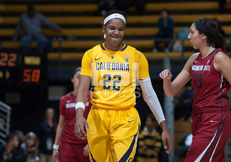 Reshanda Gray of California celebrates during the game against Washington State at Haas Pavilion in Berkeley, California on February 27th, 2014.   California defeated Washington State, 75-68.