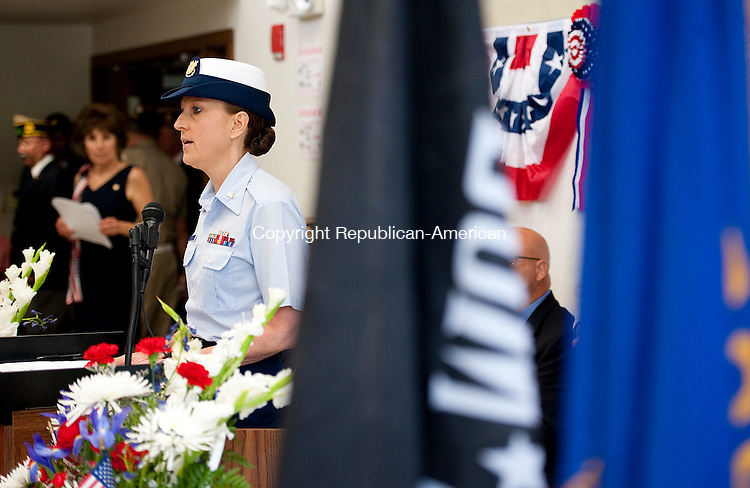 SOUTHBURY,  CT--- -053016JS15- United Staes Coast Guard Petty Officer 3rd Class Christine Granja of Southbury, was the keynote speaker during Memorial Day commemorations Monday at the Southbury Senior Center.  Granja's son is now serving in the USCG. The annual parade was canceled due to weather concerns. <br />  Jim Shannon Republican-American