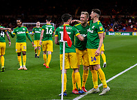 Preston North End's Jayden Stockley celebrates scoring his side's second goal with teammates<br /> <br /> Photographer Alex Dodd/CameraSport<br /> <br /> The EFL Sky Bet Championship - Middlesbrough v Preston North End - Wednesday 13th March 2019 - Riverside Stadium - Middlesbrough<br /> <br /> World Copyright &copy; 2019 CameraSport. All rights reserved. 43 Linden Ave. Countesthorpe. Leicester. England. LE8 5PG - Tel: +44 (0) 116 277 4147 - admin@camerasport.com - www.camerasport.com