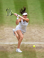 Johanna Konta (6) of Great Britain in action during her defeat by Venus Williams (10) of United States in their Ladies' Singles Semi Final Match today - Williams def Konta 6-4, 6-2<br /> <br /> Photographer Ashley Western/CameraSport<br /> <br /> Wimbledon Lawn Tennis Championships - Day 10 - Thursday 13th July 2017 -  All England Lawn Tennis and Croquet Club - Wimbledon - London - England<br /> <br /> World Copyright &not;&copy; 2017 CameraSport. All rights reserved. 43 Linden Ave. Countesthorpe. Leicester. England. LE8 5PG - Tel: +44 (0) 116 277 4147 - admin@camerasport.com - www.camerasport.com
