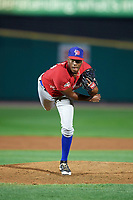 Buffalo Bisons relief pitcher Carlos Ramirez (40) follows through on a pitch during a game against the Rochester Red Wings on August 25, 2017 at Frontier Field in Rochester, New York.  Buffalo defeated Rochester 2-1 in eleven innings.  (Mike Janes/Four Seam Images)