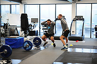(L-R) Cameron Carter-Vickers and Mike van der Hoorn of Swansea City in the gym during the Swansea City Training at The Fairwood Training Ground in Swansea, Wales, UK. Tuesday 05 February 2019