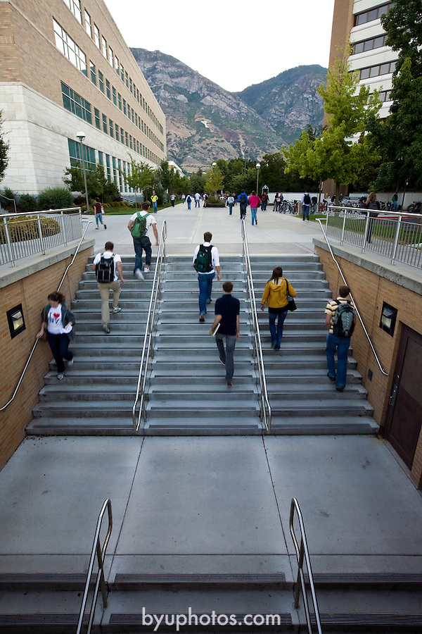 0809-03 070.CR2..0809-02 First Day of Class..First Day of the Fall 2008 Semester on Campus, GCS GCI..Sunrise Steps..September 2, 2008..Photo by Jaren Wilkey/BYU..© BYU PHOTO 2008.All Rights Reserved.photo@byu.edu  (801)422-7322