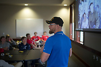 NWA Democrat-Gazette/CHARLIE KAIJO U.S. Marine Corp. Sgt. David Marty Perry speaks to a group of boys on Sunday, November 12, 2017 at the Circle of Life Hospice meeting room in Bentonville. Ninth and tenth grade boys from the Ozark Chapter of Young Men's Service League created care packages to send to a troop of 50 soldiers stationed in Kandahar, Afghanistan. Immediately prior to the service project, they heard firsthand experiences from a military veteran who was stationed in Kandahar.