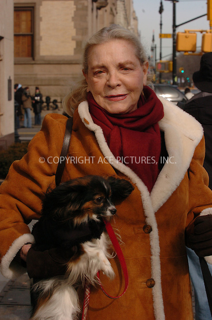 WWW.ACEPIXS.COM . . . . .  ....January 19 2006, New York City....Actress Lauren Bacall takes her dog for a walk on the Upper West Side of Manhattan. Bacall, who is now over 80, was married to Humphrey Bogart and worked with Gary Cooper, Marilyn Munroe, Betty Grable and Paul Newman.......Please byline: AJ Sokalner - ACEPIXS.COM.... *** ***..Ace Pictures, Inc:  ..Philip Vaughan (212) 243-8787 or (646) 769 0430..e-mail: info@acepixs.com..web: http://www.acepixs.com