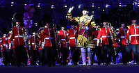 12.08.2012. London, England. Photo  ON August 12 2012 Shows The British Military band Performing  The Closing Ceremony of The London 2012 Olympic Games in The Olympic stadium