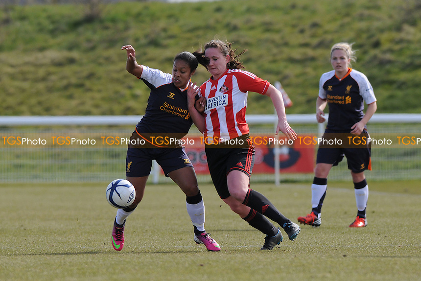 Lillie Fenlon-Billson of Liverpool battles with Sarah McFadden of Sunderland - Sunderland Women vs Liverpool Women - FA Womens Cup Quarter-Final at the Academy of Light - 31/03/13 - MANDATORY CREDIT: Steven White/TGSPHOTO - Self billing applies where appropriate - 0845 094 6026 - contact@tgsphoto.co.uk - NO UNPAID USE.