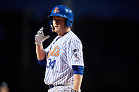 St. Lucie Mets first baseman Dash Winningham (34) at bat during the first game of a doubleheader against the Charlotte Stone Crabs on April 24, 2018 at First Data Field in Port St. Lucie, Florida.  St. Lucie defeated Charlotte 5-3.  (Mike Janes/Four Seam Images)