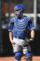Los Angeles Dodgers catcher Brant Whiting  (57) during an Instructional League game against the Cincinnati Reds on October 11, 2014 at Goodyear Training Complex in Goodyear, Arizona.  (Mike Janes/Four Seam Images)