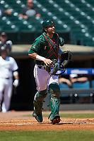Miami Hurricanes catcher Joe Gomez (40) on defense against the Wake Forest Demon Deacons in Game Nine of the 2017 ACC Baseball Championship at Louisville Slugger Field on May 26, 2017 in Louisville, Kentucky. The Hurricanes defeated the Demon Deacons 5-2. (Brian Westerholt/Four Seam Images)