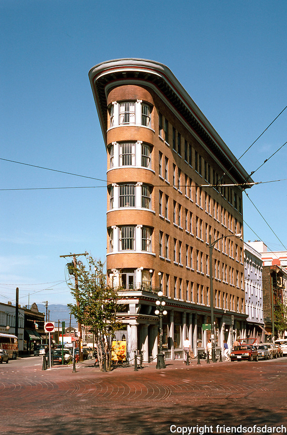 "Vancouver: Gastown--Hotel Europe, 1908-1909. 43 Powell St. First reinforced concrete structure in Vancouver. First ""fireproof"" hotel in Western Canada. Parr & Fee, Architects. Photo '86."