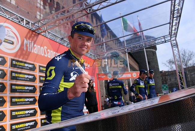 Simon Gerrans (AUS) Orica-Scott at sign on before the start of the 108th edition of Milan-San Remo 2017 by NamedSport the first Classic Monument of the season running 291km from Milan to San Remo, Italy. 18th March 2017.<br /> Picture: La Presse/Gian Mattia D'Alberto | Cyclefile<br /> <br /> <br /> All photos usage must carry mandatory copyright credit (&copy; Cyclefile | La Presse)