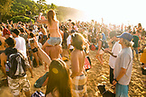 USA, Hawaii, Oahu, The North Shore, people watching the awards ceremony at the Eddie Aikau surf competition, Waimea Bay