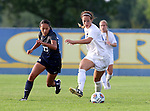 BROOKINGS, SD - August 19:  Annie Williams #23 from South Dakota State controls the ball in front of Mealii Enos #27 from Utah State during the second half of their match at Fischback Soccer Field in Brookings. (Photo by Dave Eggen/Inertia)