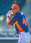 7 March 2013: Houston Astros outfielder Justin Maxwell awaits his turn in the batting cage prior to a Spring Training game against the Washington Nationals at Osceola County Stadium in Kissimmee, Florida. The Astros defeated the Nationals 4-2 in Grapefruit League play. Mandatory Credit: Ed Wolfstein Photo *** RAW (NEF) Image File Available ***