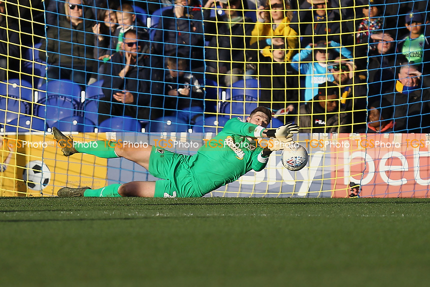 Joe Day of AFC Wimbledon makes a save during AFC Wimbledon vs Fleetwood Town, Sky Bet EFL League 1 Football at the Cherry Red Records Stadium on 8th February 2020