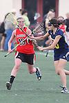 Santa Barbara, CA 02/18/12 - Kelly Arnhart (Georgia #19) and Melissa Oddo (Michigan #20) in action during the Georgia-Michigan matchup at the 2012 Santa Barbara Shootout.  Georgia defeated Michigan 12-10.