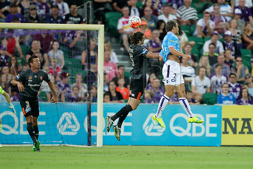 20.02.2016, Perth, Australia. Hyundai A-League, Perth Glory versus Brisbane Roar. James Donachie heads the ball out of the box for the Brisbane Roar. Perth Glory defeated Brisbane Roar 6-3.