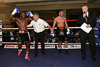 Karl Wiggins (black/white shorts) defeats Chris Jenkinson during a Boxing Show at the Millenium Hotel on 11th May 2017