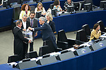 Strasbourg - France - 03 July 2019 -- 2nd voting round for the President of the European Parliament. -- The voting ballot-box was brought to the out-going EP-President  Antonio TAJANI so he could drop his vote -- PHOTO: Juha ROININEN / EUP-IMAGES