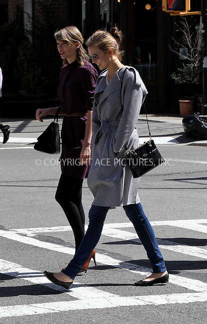 WWW.ACEPIXS.COM<br /> <br /> April 3 2014, New York City<br /> <br /> Taylor Swift and Karlie Kloss go for a walk in Tribeca on April 3 2014 in New York City<br /> <br /> By Line: Zelig Shaul/ACE Pictures<br /> <br /> <br /> ACE Pictures, Inc.<br /> tel: 646 769 0430<br /> Email: info@acepixs.com<br /> www.acepixs.com