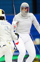 27 FEB 2011 - LONDON, GBR - Poland's Bogna Jozwiak during the  bronze medal playoff match against Italy at fencing's England Cup sabre tournament at the National Sports Centre at Crystal Palace (PHOTO (C) NIGEL FARROW)
