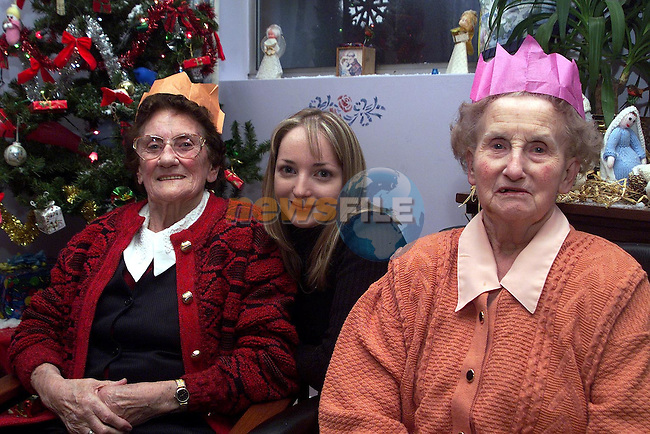 May Haggins, Glenview, Paula Talnan, Dublin Road and Kathleen Murray, St. Marks at the Christmas party in the Cottage hospital..Picture Paul Mohan Newsfile