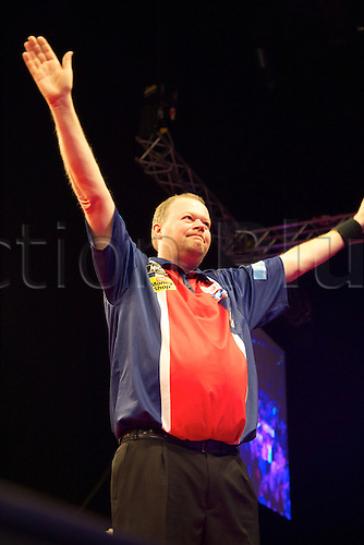 14.03.2013 Manchester, England. Raymond van Barneveld in action during round six of the Premier League Darts from the MEN Arena.