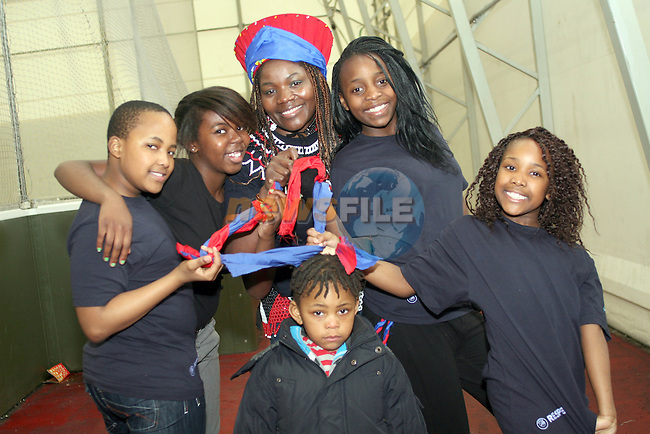 Banele Siswana, Amanda Maseko, Yolanda Nyathi, Rory, Cathrine Ndlovu and Malre Siswana at the 24 hour five a side football tournament in aid of Haiti...Photo NEWSFILE/Jenny Matthews.(Photo credit should read Jenny Matthews/NEWSFILE)....This Picture has been sent you under the condtions enclosed by:.Newsfile Ltd..The Studio,.Millmount Abbey,.Drogheda,.Co Meath..Ireland..Tel: +353(0)41-9871240.Fax: +353(0)41-9871260.GSM: +353(0)86-2500958.email: pictures@newsfile.ie.www.newsfile.ie.FTP: 193.120.102.198.