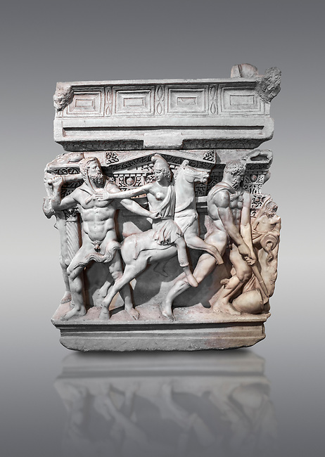 """End panel of a Roman relief sculpted Hercules sarcophagus with kline couch lid, """"Columned Sarcophagi of Asia Minor"""" style typical of Sidamara, 250-260 AD, Konya Archaeological Museum, Turkey. Against a grey background"""