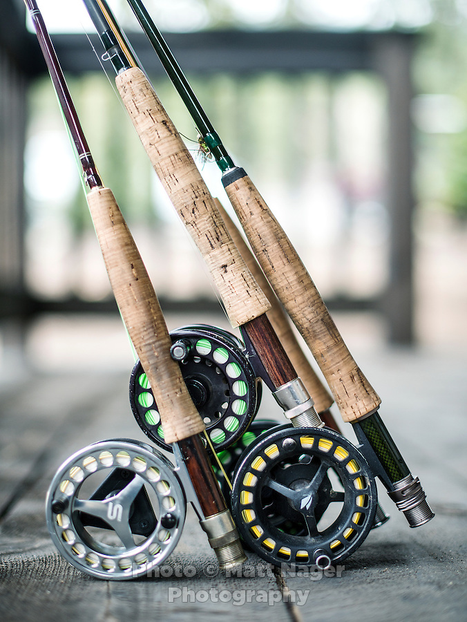 Fly fishing rods after fishing at the Broadmoor Hotel's new fishing lodge near Colorado Springs, Colorado, Monday, May 4, 2015. <br /> <br /> Photo by Matt Nager