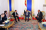 Egyptian President Abdel Fattah al-Sisi meets with Russian Prime Minister Dmitry Medvedev on the sidelines of events inaugurating the new additions to the Suez Canal, in Ismailia, Egypt, 07 August 2015. The latest addition to the canal comes in at 35 kilometers of new canal and the widening of a further 37 kilometers of old canal, was completed in under a year, with an estimated cost of 8.5 billion US dollars once additional projects are completed, and was opened to shipping 06 August. According to the Egyptian Government, the additional chanel cuts journey times from an estimated 18-14 hours to 11 hours, making it the fastest shipping lane of its kind worldwide, and will double revenue by 2023, though their figures have been widely disputed by international economists. Egyptian President Office
