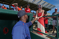 Minnesota Twins right fielder Miguel Sano (22) signs autographs before a Spring Training game against the Baltimore Orioles on March 7, 2016 at Ed Smith Stadium in Sarasota, Florida.  Minnesota defeated Baltimore 3-0.  (Mike Janes/Four Seam Images)