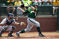 Baylor Bears first baseman Max Muncy #9 swings during the NCAA Regional baseball game against Oral Roberts University on June 3, 2012 at Baylor Ball Park in Waco, Texas. Baylor defeated Oral Roberts 5-2. (Andrew Woolley/Four Seam Images)