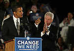 Former U.S President Bill Clinton, right, jesters as he listens to a speech  of Presidential candidate Barack Obama, left, during an election rally   in Kissimmee,  Fla Wednesday Oct 29 2008.  Americans will go to the polls on Nov 4, at a time of great Financial crisis, war in Iraq and Afghanistan, to elect a  new President. A vote, that will affect not only America, but the whole world. Photo by Eyal Warshavsky .
