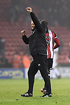 Chris Wilder manager of Sheffield Utd salutes the crowd following the championship match at the Bramall Lane Stadium, Sheffield. Picture date 10th April 2018. Picture credit should read: Harry Marshall/Sportimage