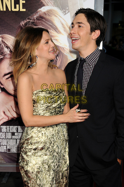 """DREW BARRYMORE & JUSTIN LONG.""""Going The Distance"""" Los Angeles Premiere held at Grauman's Chinese Theatre, Hollywood, California, USA, 23rd August 2010..half length gold print dress strapless belt black suit tie arm around  checked check shirt smiling ring profile mouth open .CAP/ADM/BP.©Byron Purvis/AdMedia/Capital Pictures."""