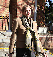 CHARLOTTESVILLE, VA - FEBRUARY 06: Marta Murphy walks out of the Charlottesville Circuit Court for her son, George Huguely's trial. Huguely was charged in the May 2010 death of his girlfriend Yeardley Love. She was a member of the Virginia women's lacrosse team. Huguely pleaded not guilty to first-degree murder. (Credit Image: © Andrew Shurtleff