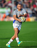 Jonathan Joseph of Bath Rugby passes the ball during the pre-match warm-up. Aviva Premiership match, between Exeter Chiefs and Bath Rugby on October 30, 2016 at Sandy Park in Exeter, England. Photo by: Patrick Khachfe / Onside Images