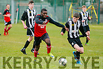 At FAI Umbro Youth Cup 1/4 Final  St Brendans Park v Galway Hibernians at Christy Leahy Park on Saturday. Pictured Galway's Dean Cullinane and Park's Emmanuel Abubakar