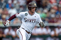 Mississippi State Bulldogs shortstop Jordan Westburg (11) runs to first base during Game 8 of the NCAA College World Series against the Auburn Tigers on June 16, 2019 at TD Ameritrade Park in Omaha, Nebraska. Mississippi State defeated Auburn 5-4 6-3. (Andrew Woolley/Four Seam Images)