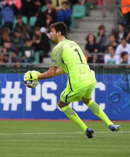 12.07.2016. Donaustadion, Ulm, Germany.  Croatia's goalkeeper Karlo Letica in action during the U19 European Soccer Championship Group B preliminary round match between Croatia and the Netherlands at Donaustadion in Ulm, Germany, 12 July 2016.