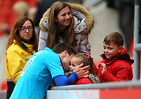 Bobby Grant of Fleetwood Town with his family after the Sky Bet League 1 match between Rotherham United and Fleetwood Town at the New York Stadium, Rotherham, England on 7 April 2018. Photo by Leila Coker.