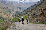 People walking Poqueira gorge valley, High Alpujarras, Sierra Nevada, Granada Province, Spain