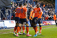 Scott Cuthbert of Luton Town celebrates with team mates after he scores his team's second goal of the game to make the score 2-1 on the night during the Sky Bet League 2 Play Off Semi Final 2 leg match between Luton Town and Blackpool at Kenilworth Road, Luton, England on 18 May 2017. Photo by David Horn.