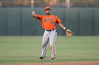 AZL Giants Orange second baseman Wascer De Leon (34) during an Arizona League game against the AZL Athletics at Lew Wolff Training Complex on June 25, 2018 in Mesa, Arizona. AZL Giants Orange defeated the AZL Athletics 7-5. (Zachary Lucy/Four Seam Images)
