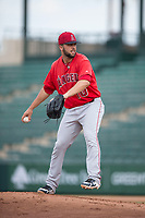 AZL Angels catcher Brett Bond (10) delivers a pitch after being called in to pitch the ninth inning during the completion of a suspended Arizona League game against the AZL Diamondbacks at Tempe Diablo Stadium on July 16, 2018 in Tempe, Arizona. The game was a continuation of the July 11, 2018 contest that was suspended by rain in the middle of the eighth inning. The AZL Diamondbacks defeated the AZL Angels 12-8. (Zachary Lucy/Four Seam Images)