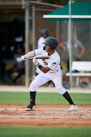 GCL Marlins Nasim Nunez (1) bunts during a Gulf Coast League game against the GCL Astros on August 8, 2019 at the Roger Dean Chevrolet Stadium Complex in Jupiter, Florida.  GCL Astros defeated GCL Marlins 4-2.  (Mike Janes/Four Seam Images)