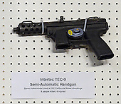 An Intertec TEC-9 Semi-Automatic Handgun displayed at the press conference held by United States Senator Dianne Feinstein (Democrat of California) to announce the introduction of legislation to ban assault weapons on Capitol Hill in Washington, D.C. on Thursday, January 24, 2013..Credit: Ron Sachs / CNP.(RESTRICTION: NO New York or New Jersey Newspapers or newspapers within a 75 mile radius of New York City)