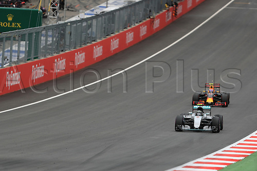 03.07.2016. Red Bull Circuit, Spielberg, Austria. F1 Grand pix of Austria. Race Day.  Mercedes AMG Petronas W07 Hybrid – Nico Rosberg leads Red Bull Racing RB12 – Max Verstappen down the straight